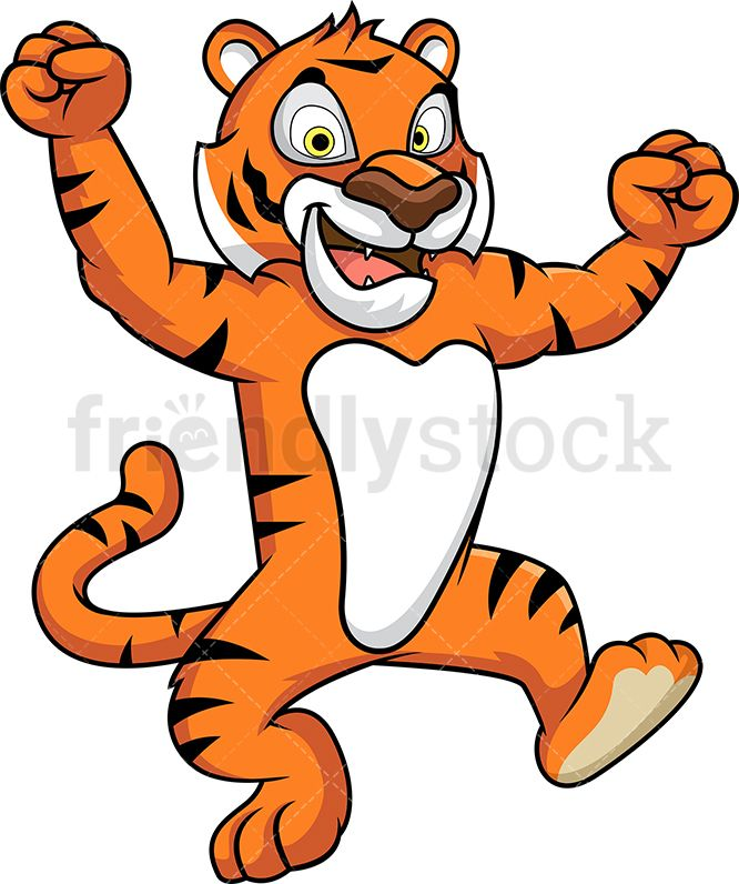 Excited tiger mascot.