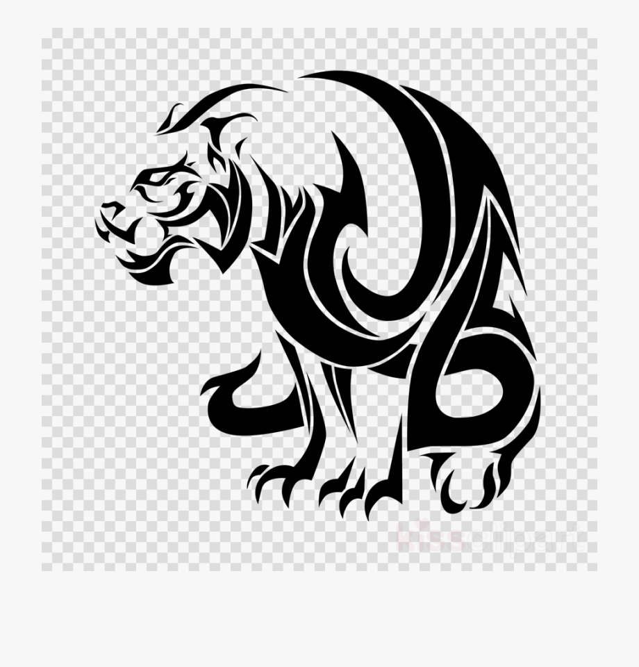 Download Tribal Tiger Tattoo Black And White Clipart