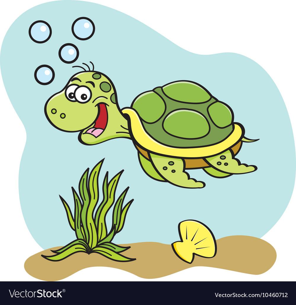 Cartoon sea turtle.