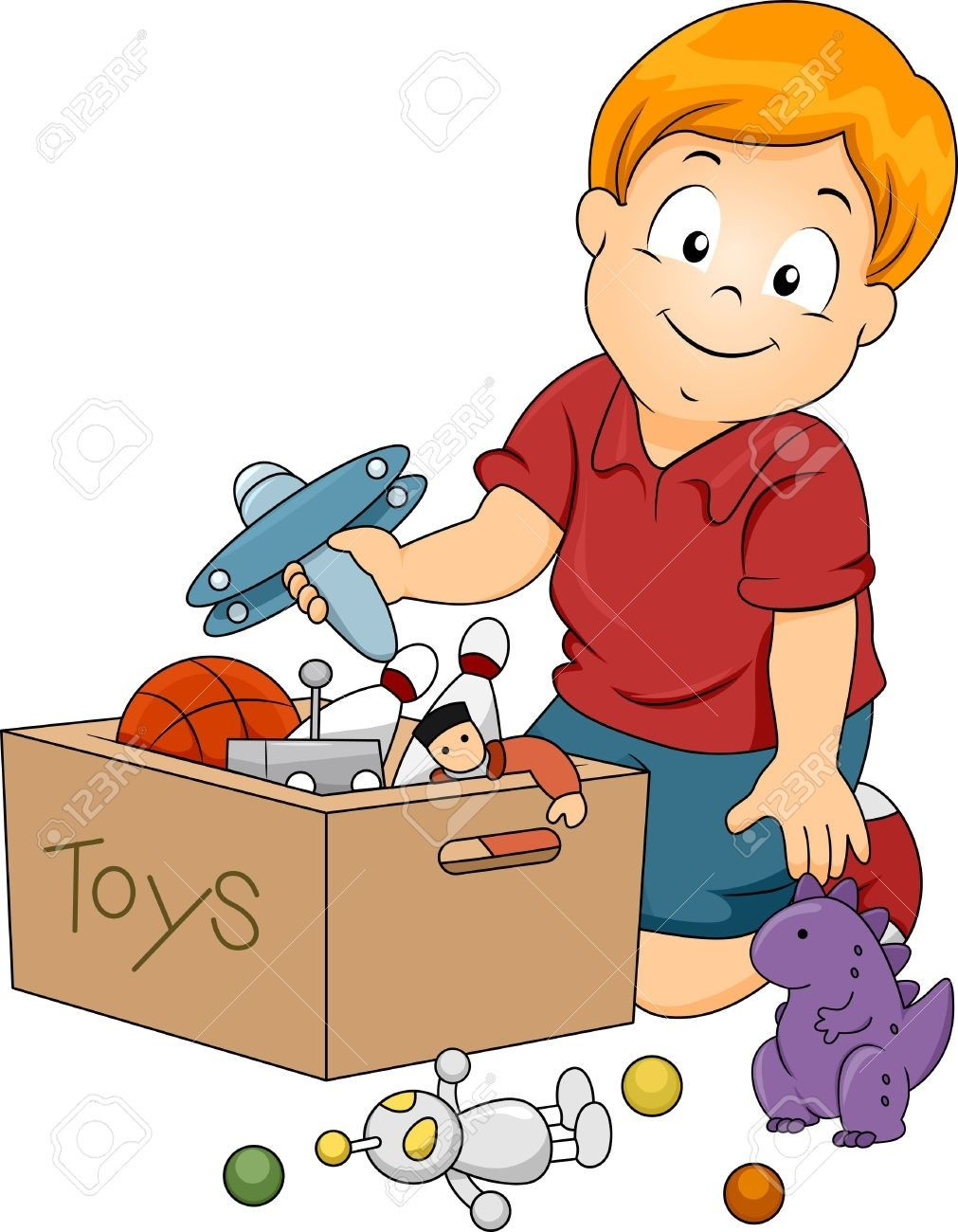 Kids Cleaning Up Toys Clipart