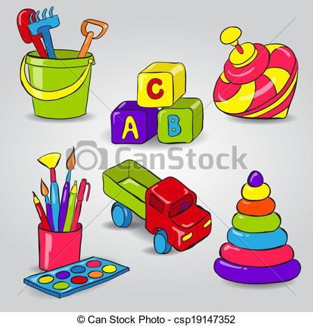 Childrens toys clipart.