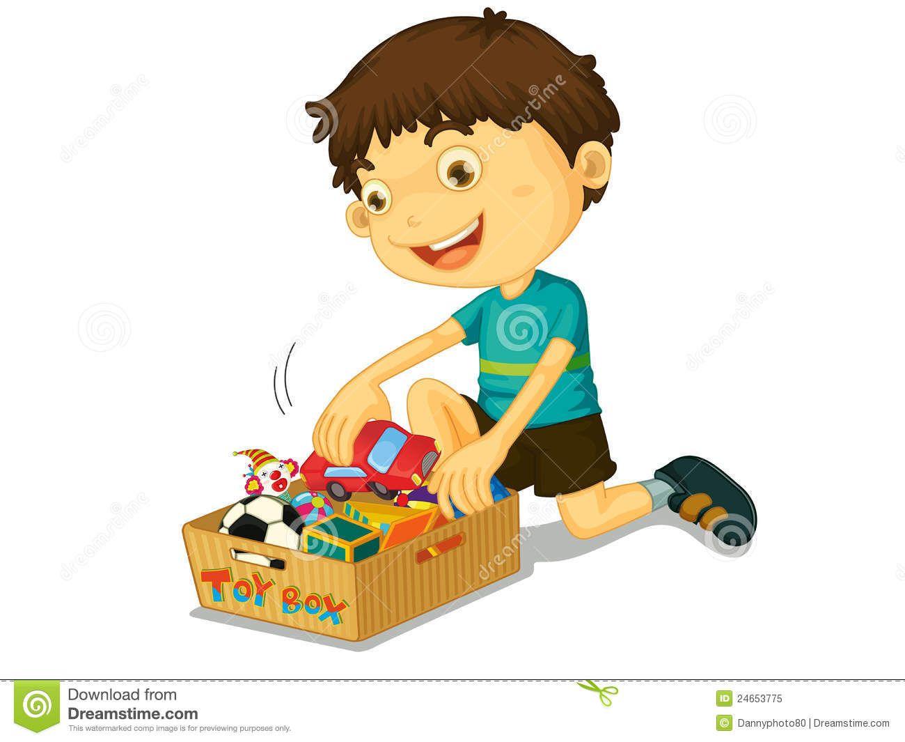 Boy picking up toys