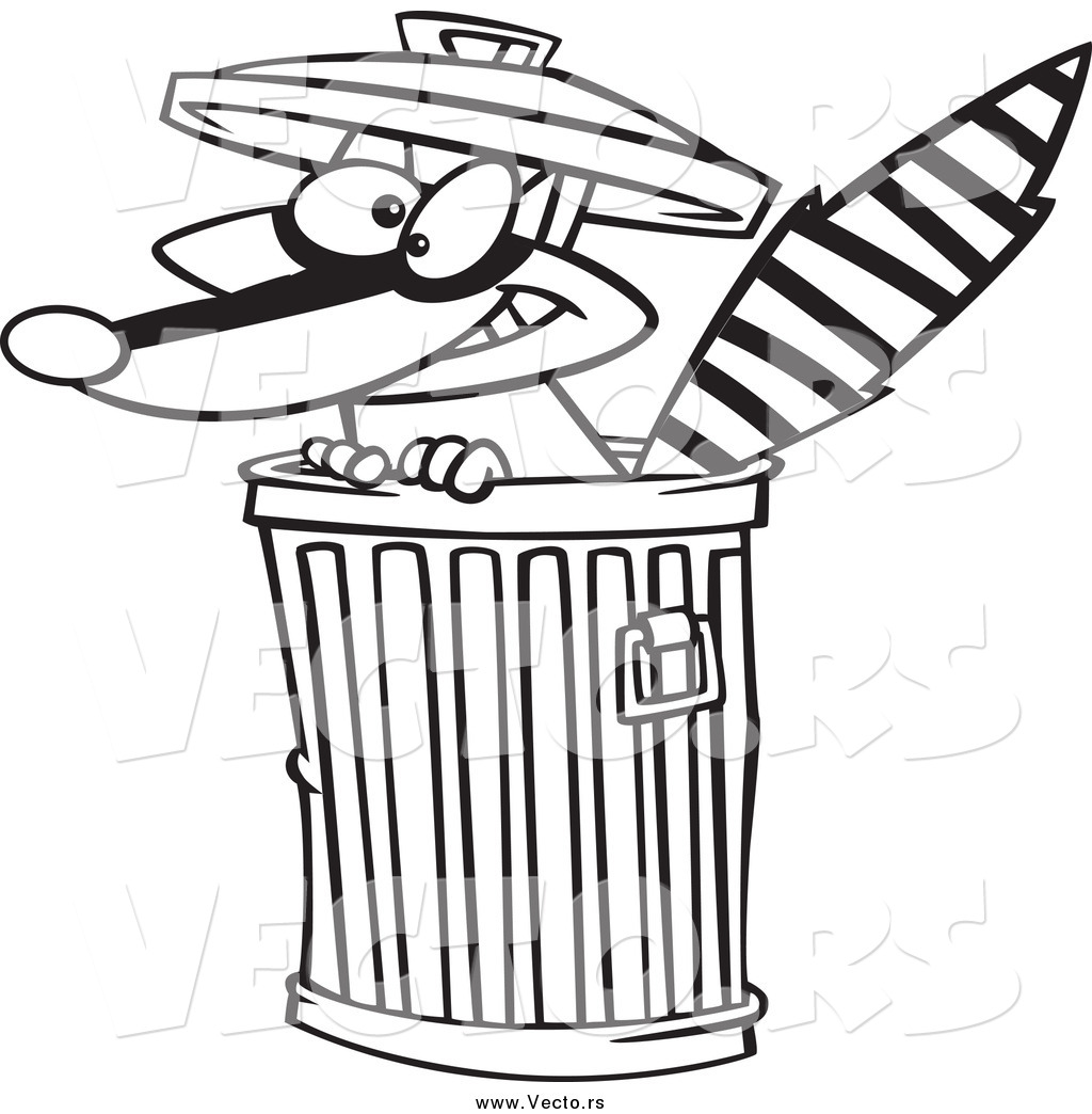 Vector of a Black and White Raccoon in a Trash Can by