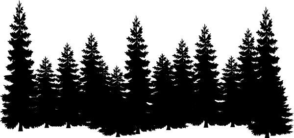 forest clipart black and white outline