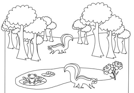 forest clipart black and white temperate