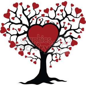 Tree of life and love red hearts clipart