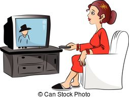 Watching television clipart.