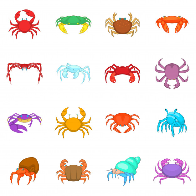 Colorful crab icons.