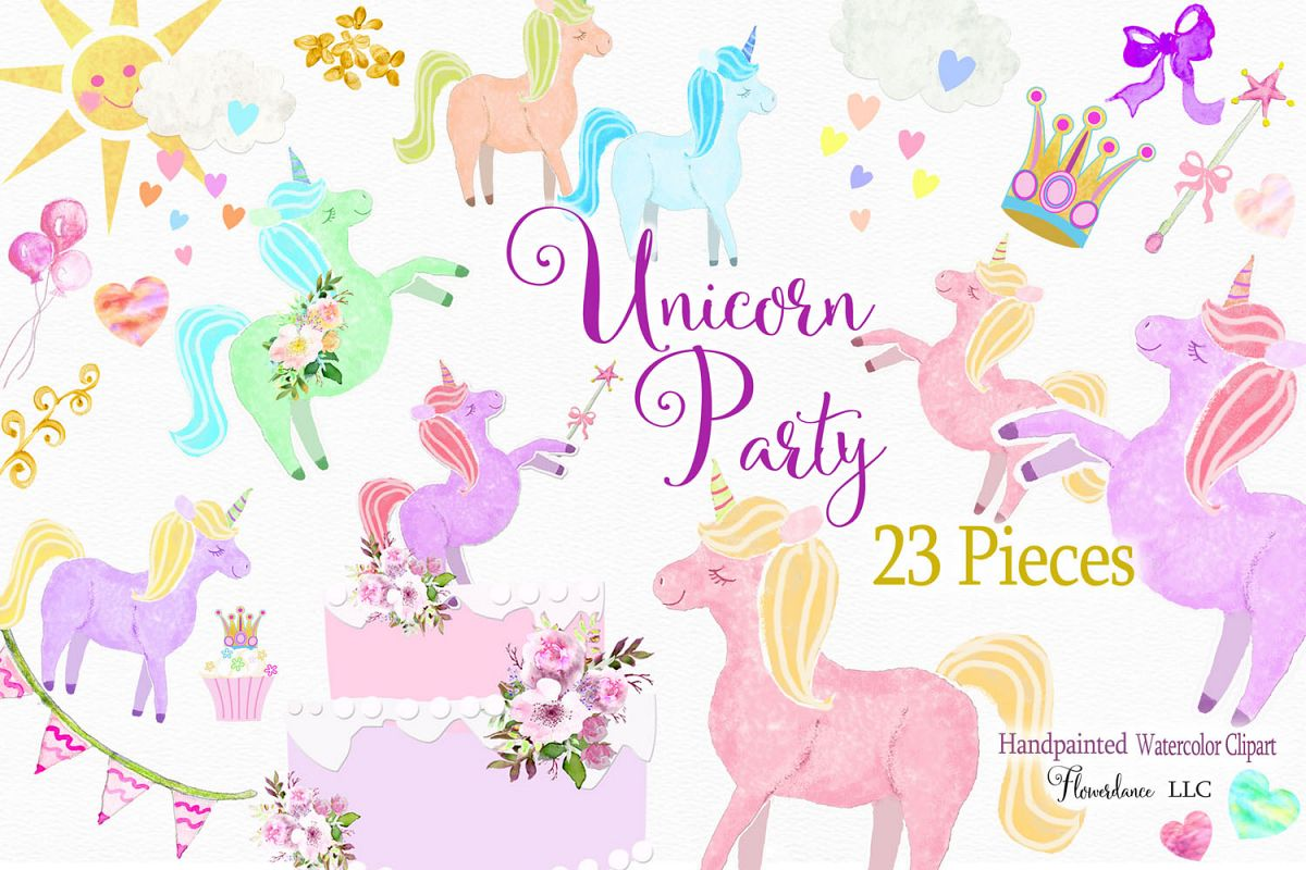 Unicorn clipart rainbow.