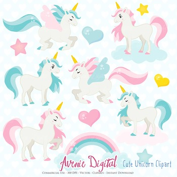 Cute Unicorn Clipart Scrapbook Commercial Use