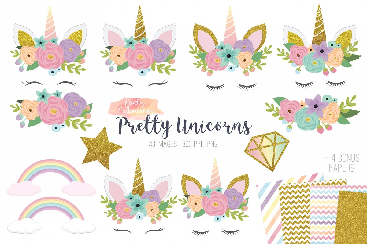 Pretty unicorns clipart.