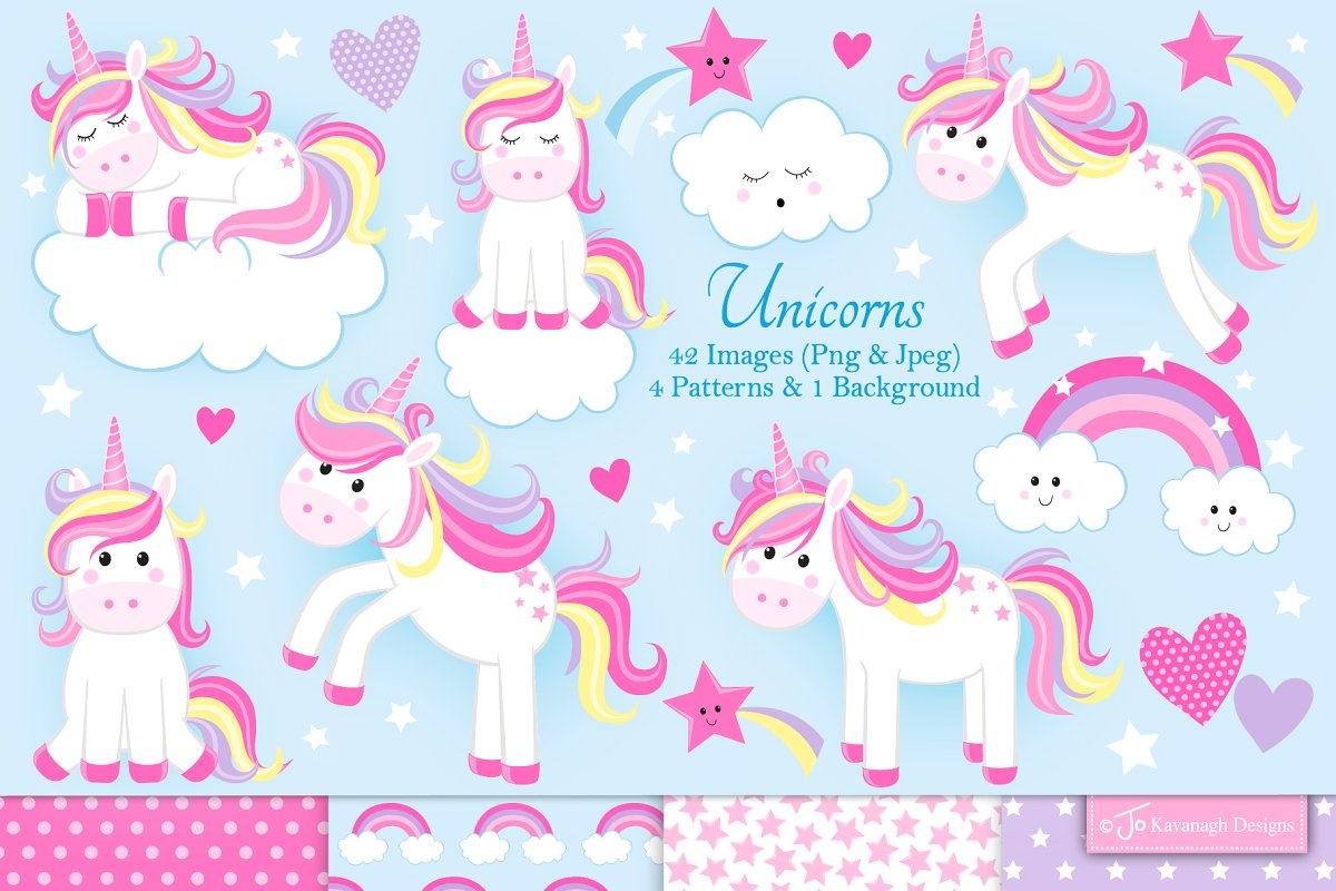 Unicorn clipart cute.