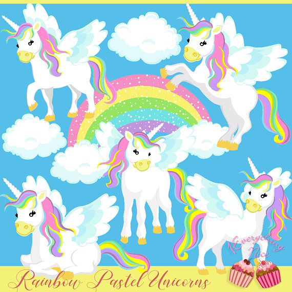 Rainbow pastel unicorns.