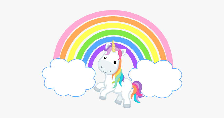 rainbow clipart black and white unicorn