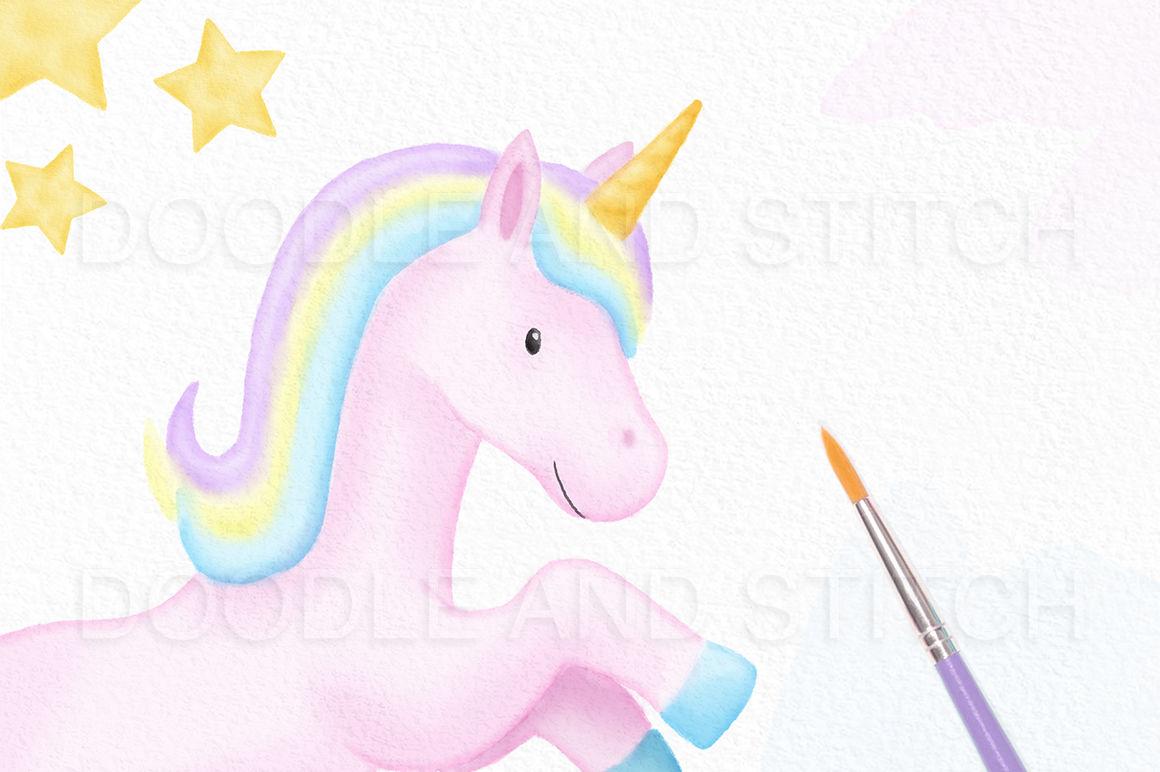 Watercolor unicorn clipart.
