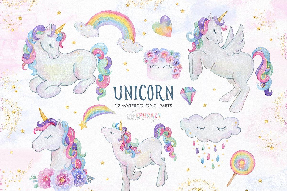 Unicorn clipart watercolor.