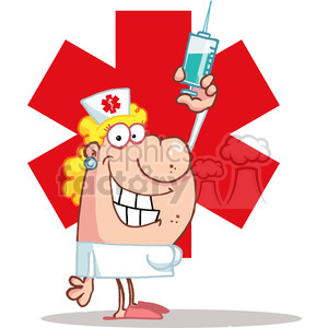 Medical Nurse with Vaccine Syringe clipart