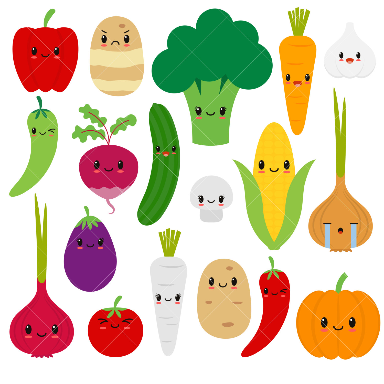 Food clipart free cute. Food clipart free cute. Kawaii vegetables vegetable happy