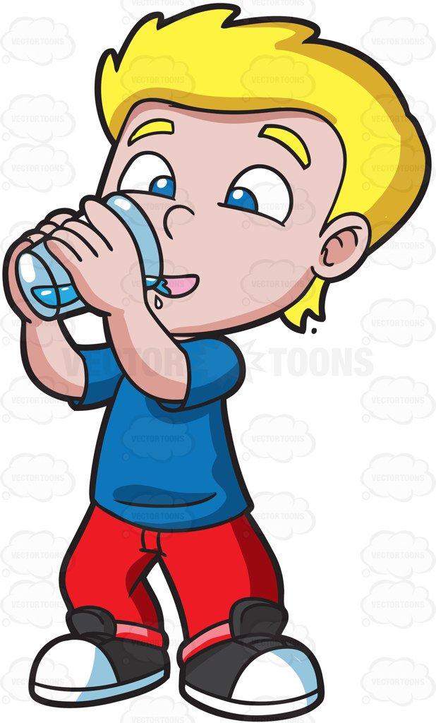 Boy drinking water.