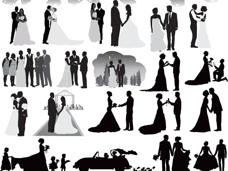 Wedding clipart silhouette