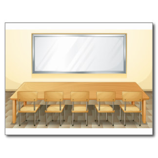 Classroom with whiteboard.