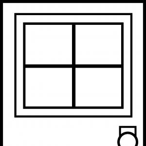 Square window clipart black and white