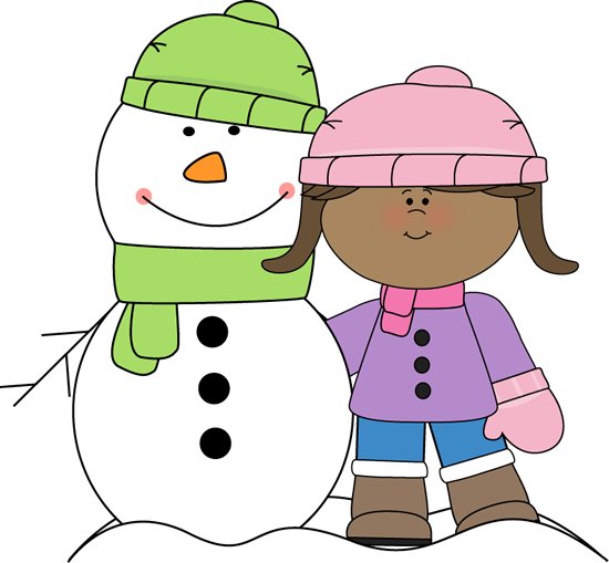 Girl with snowman.