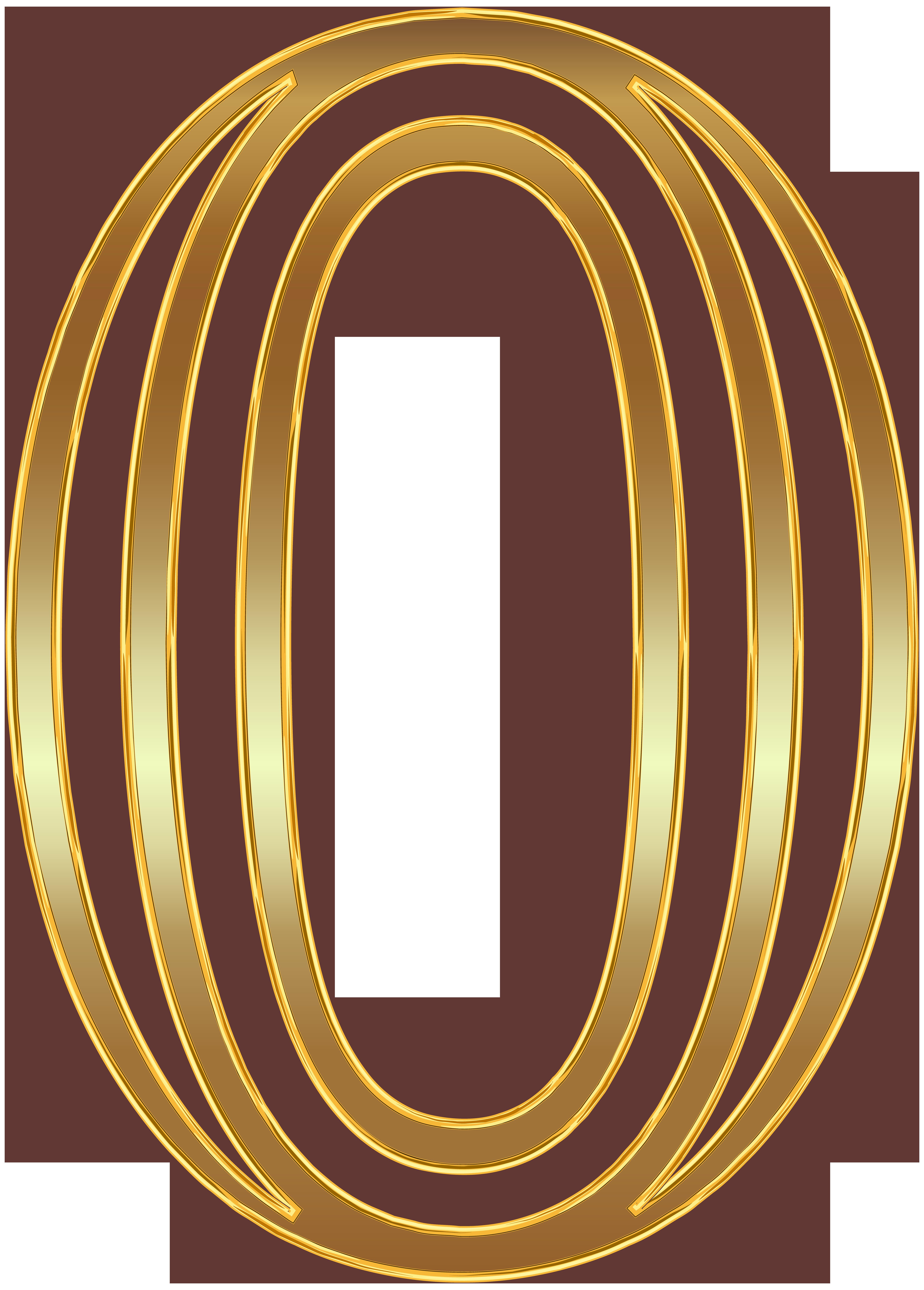 Number Zero Gold PNG Clip Art Image