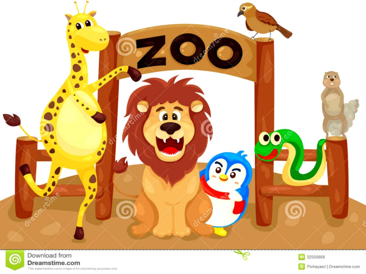 Zoo animals together.